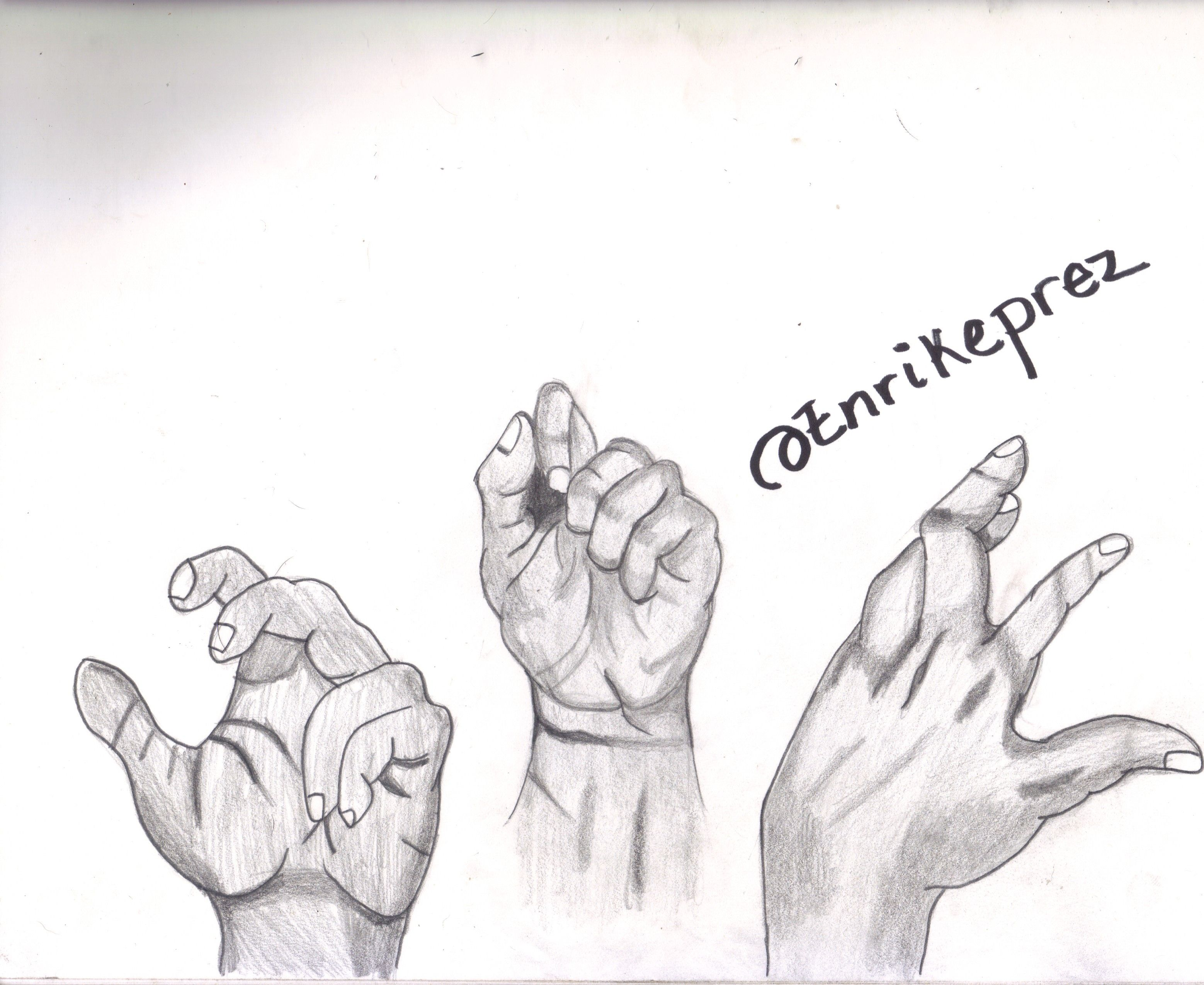 I had only thought to draw these two hands but as i left some space i decided to draw one more in a different position