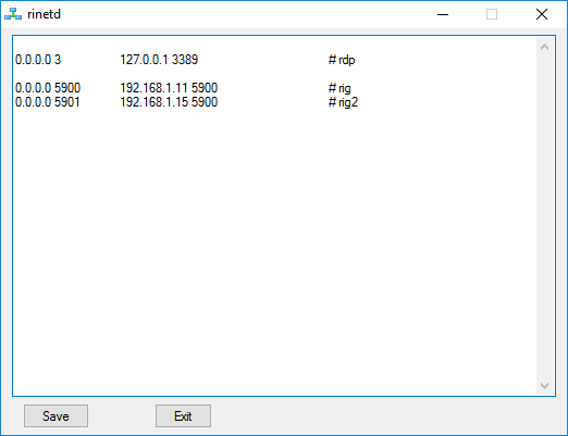 Creating a Windows graphical configuration tool for rinetd with