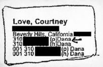 "Courtney Love in Epstein's Little Black Book with an arrow to ""Dana"""