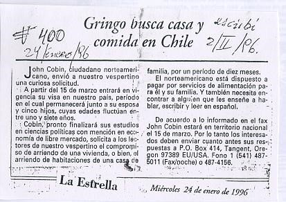 "Blurb in <i>La Estrella</i> (The Star) of Valparaíso in January 1996 alerting people to the fact that the ""<i>gringo loco</i>"" was going to arrive.jpg"