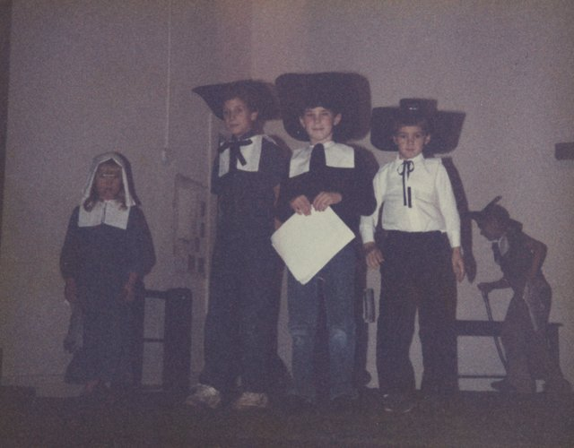 katie in friday school pilgrim play thanksgiving homeschool joeyarnoldvn arnold 1987